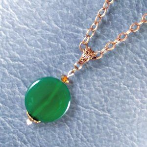 Green Agate Copper Necklace